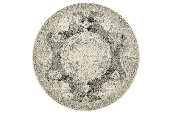Hazel Charcoal & Grey Durable Vintage Look Round Rug 200x200cm
