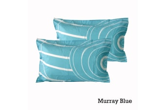 Pair of Quality Standard Pillowcases Murray Blue by Logan & Mason