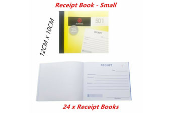 24 x Cash Receipt Books With Carbon Copy Paper Small Duplicate 50 Leaf Business