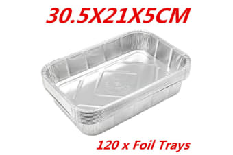 120 x Aluminum Foil Trays BBQ Disposable Roasting Oven Baking Tray Party 30.5X21X5CM