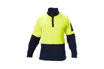 Hard Yakka Hi Vis Two Tone Polar Fleece 1/4 Zip Jumper (Yellow/Navy)