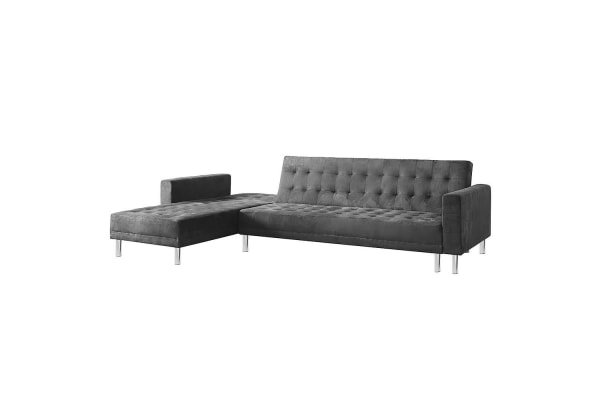 Suede Corner Sofa Bed Couch with Chaise - Grey