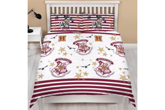 Harry Potter Official Stripe Muggle Duvet And Pillowcase Set (White/Red) (Double)