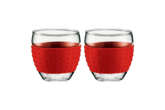 Bodum Pavina Glass Red Ribbon Grip Set of 2 350ml