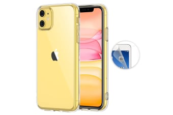 "Apple iPhone 11 (6.1"") Ultra Slim Premium Crystal Clear TPU Gel Back Case by MEZON – Wireless Charging Compatible – With Screen Protector (iPhone 11, Gel)"