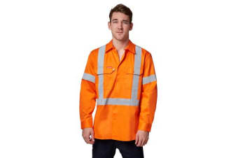 Hard Yakka Hi-Vis Cotton Drill Long Sleeve Shirt with 3M Tape (Orange)