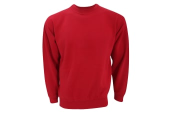 UCC 50/50 Unisex Plain Set-In Sweatshirt Top (Red)