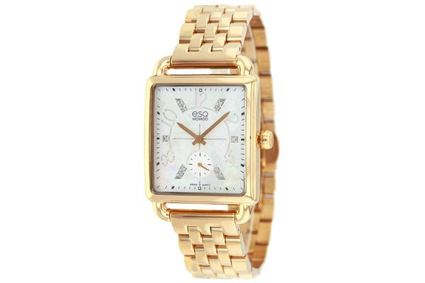 ESQ MOVADO WOMEN'S GOLD ION-PLATED STEEL CASE BRACLET WHITE DIAMOND ACCENTS WATCH 07101416 (7101416)