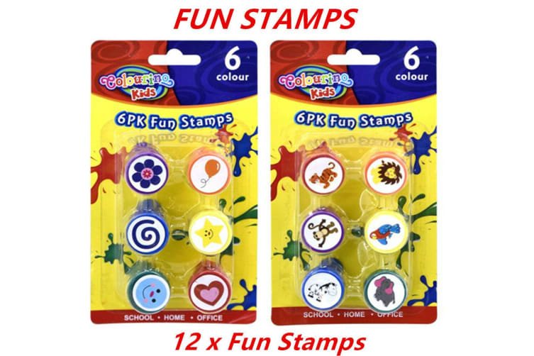 12 x Fun Stamps Set Stationery Kids Gift Party Toy Art Craft Animal Flower Heart Star