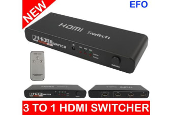 3 To 1 Hdmi Selector Switch Switcher V1.4 4K Full Hd Remote (3 Inputs/1 Output)