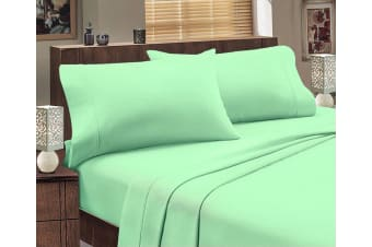 ALL SIZES Egyptian Cotton Sheet Set Flannelette 175GSM Luxury Comfortable - Mega King - Mint