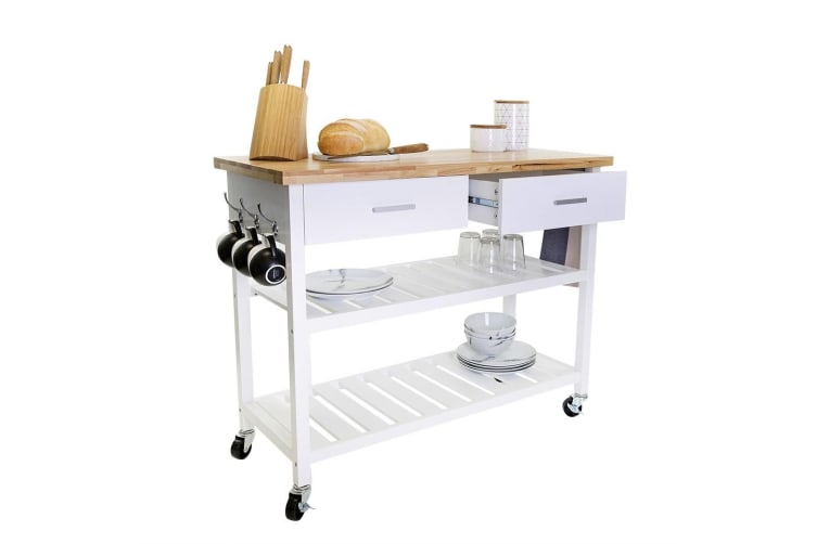 Kitchen Trolley 2 Drawers 2 Shelves Solid Wood Top Swivel Wheels White Painted