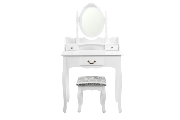 3 Drawer Classic Dressing Table with Mirror (White)