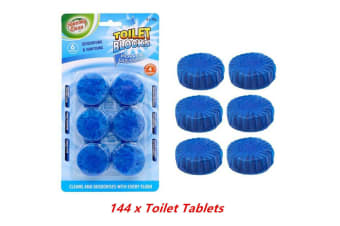 144 x Blue Toilet Tablet Deodorizer Flush Anti Bacterial Cleaner Stain Remover Blocks