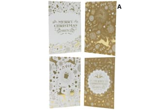 16x Christmas Xmas Greeting Cards & Envelopes w Glitter Foil [Design: A]
