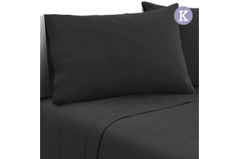 Giselle Bed Sheets King Microfiber Sheet 4Pc Bedding Set Fitted Flat Pillowcase