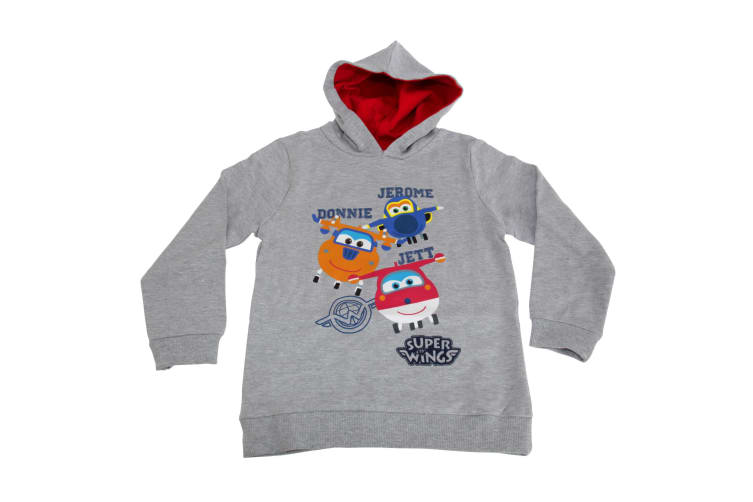 Super Wings Toddler Boys Jerome Donnie And Jett Character Hoodie (Light Grey Marl) (3-4 Years)