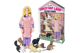 Crazy Cat Lady Action Figure Funny Grown Up Ornament Toy Cats Lover Pet Novelty Gift