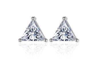 Trillian Stud Earrings-White Gold/Clear