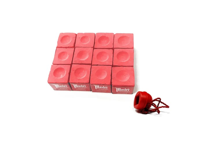 12 x Cubes Master Billiard Snooker Pool Chalk&Chalk Holder Set Pink