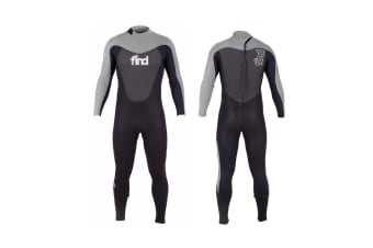 FIND™ Men's 3mm/2mm Flatlock Steamer Long Sleeve & Leg Neoprene Wetsuit with Knee Pads - Gray/Black - Large