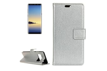 For Samsung Galaxy Note 8 Wallet Case Lychee Textured Flip Leather Cover Silver