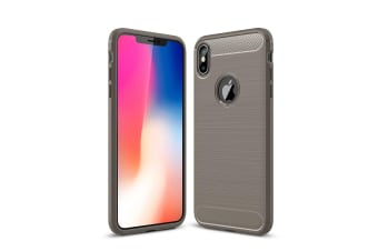 For iPhone XS MAX Cover Carbon Fiber Texture Shockproof Shielding Back Case Grey
