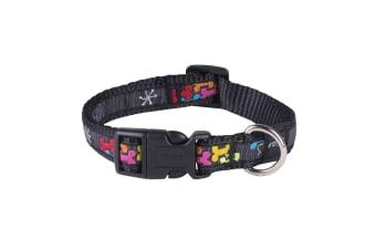 Rogz Graphic Adjustable Dog Collar (Multi Bone) (Large)