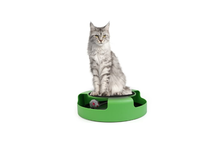 Cat Interactive Toys With A Running Mice And A Scratching Pad - Green Green