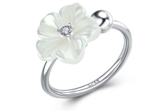 .925 White Flower Ring-Silver/White Adjustable Size