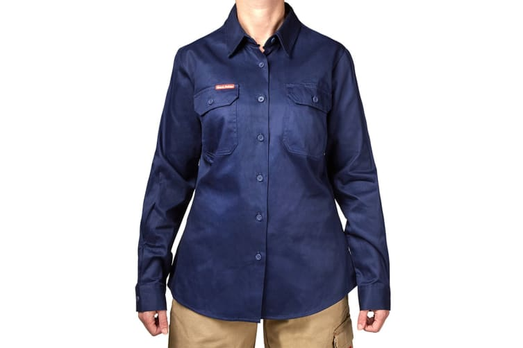 Hard Yakka Women's Cotton Drill Long Sleeve Shirt (Navy, Size 10)