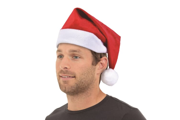 Bristol Novelty Unisex Adults Velour Santa Hat (Red/White) (One Size)