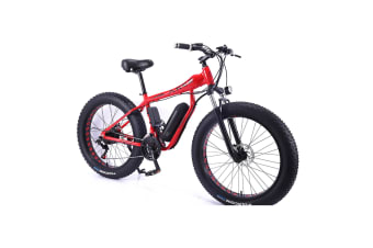 "AKEZ HT 350W 36V Electric Bike Beach eBike Snow Motorized Bicycle Battery 26"" Red"