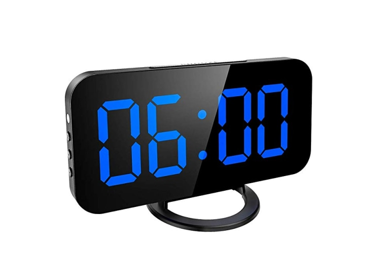 Digital Alarm Clock With Large Mirror Surface Led Screen Display For Home Bedroom