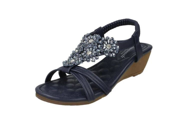 Savannah Womens/Ladies Mid Wedge Sandals (Navy) (5 UK)