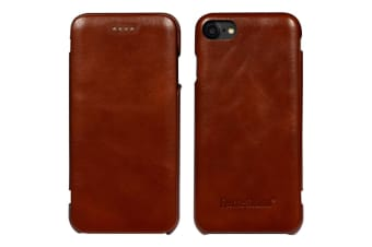 For iPhone 8 7 Case Fierre Shann Genuine Protective Leather Flip Cover Brown