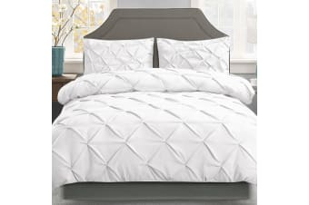 Giselle Bedding Pinch Pleat Diamond Duvet Doona Queen Quilt Cover Set White