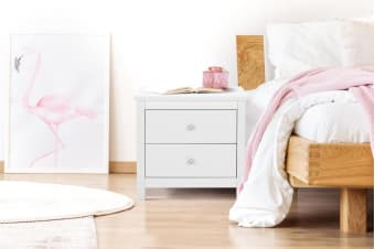 Shangri-La 2 Drawer Bedside Table - Brighton Collection (White)