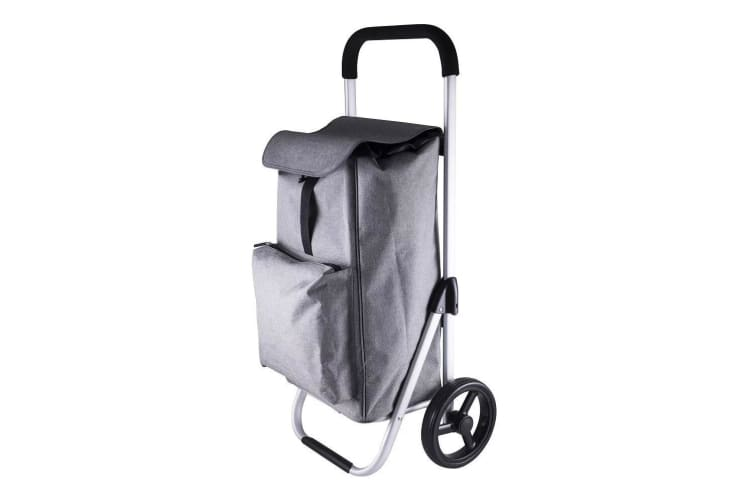 Karlstert Aluminium Shopping Trolley Portable Grocery Basket Bag Graphite Grey