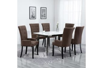 vidaXL Dining Chair with Armrests 6 pcs Brown Fabric