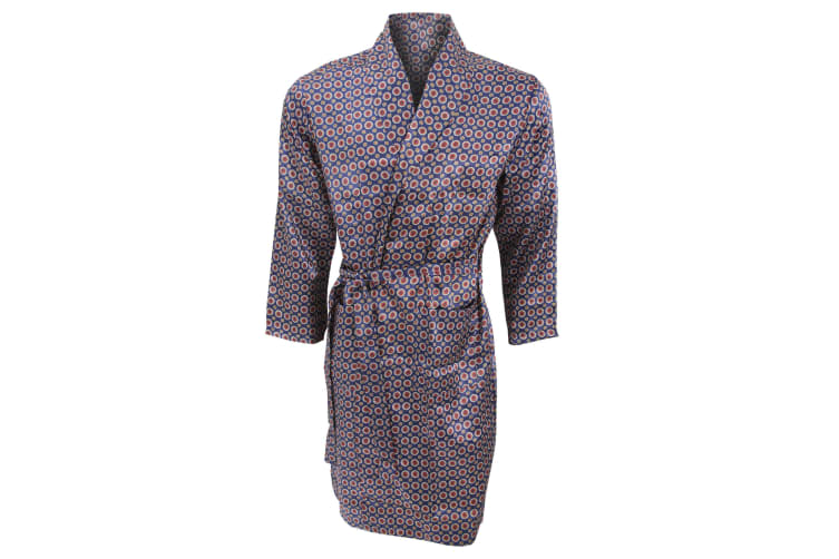 Mens Lightweight Traditional Patterned Satin Robe/Dressing Gown (Navy) (M Chest: 40inch)
