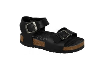 JCDees Boys Synthetic Buckle Ankle Strap Sandals (Black)