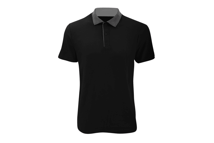 Anvil Mens Fashion Double Pique Plain Polo Shirt (210 GSM) (Black/ Charcoal) (S)