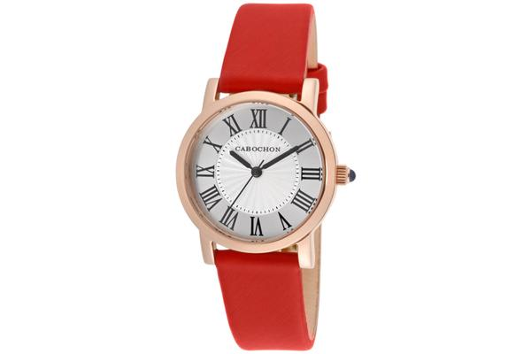 Cabochon Women's Dame Chic Silver Dial Red Genuine Leather (CABOCHON-403S-05)
