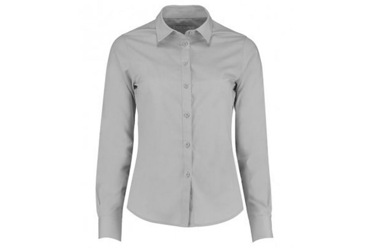 Kustom Kit Womens/Ladies Long Sleeve Tailored Poplin Shirt (Light Grey) (14)