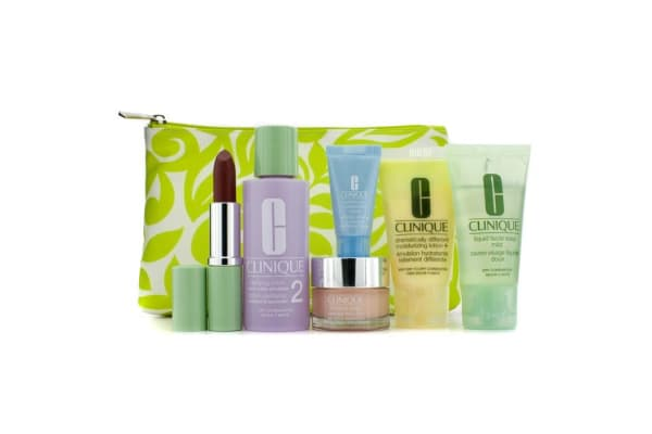 Clinique Travel Set: Facial Soap + Clarifying Lotion #2 + DDML+ + Moisture Surge + Turnaround Concentrate + Lipstick #Blushing Nude + Bag (6pcs+1bag)