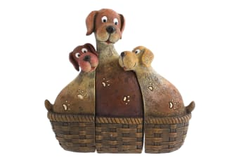 Something Different Dog Family In Basket Ornament (Brown) (One Size)