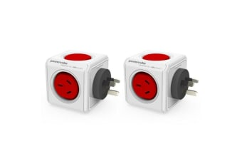 2 Pack Red Powercube Original 2 Socket Power Board w/ Dual USB Port