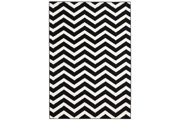 Modern Chevron Design Rug Black White 290x200cm