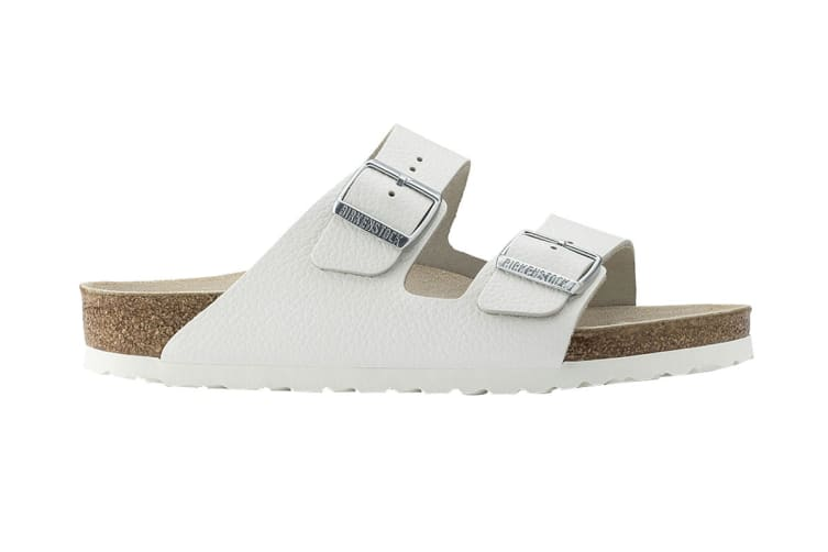 Birkenstock Unisex Arizona Smooth Leather Sandal (White, Size 40 EU)